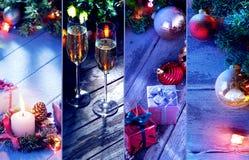 Frohe Weihnachten und Themacollage des neuen Jahres bestanden aus verschiedenen Bildern Stockbild
