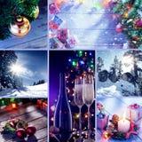 Frohe Weihnachten und Themacollage des neuen Jahres bestanden aus verschiedenen Bildern Stockbilder