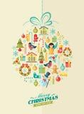 Frohe Weihnachten Vektorwintersatz Stockbild