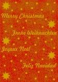 Frohe Weihnachten in 4 verschiedenen Sprachen Lizenzfreie Stockbilder