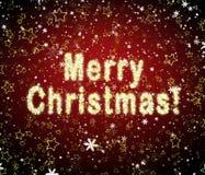 Frohe Weihnachten vom Schnee mit fallenden Sternen Lizenzfreie Stockfotos