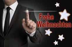 Frohe Weihnachten & x28; w niemieckim Wesoło Christmas& x29; ekran sensorowy jest ope Obrazy Royalty Free