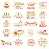 Frohe Weihnachten Weihnachtsfeiertags-Briefgestaltung Glückliches neues Jahr stock abbildung