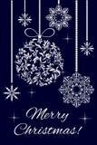 Frohe Weihnachten! Weihnachtsglocke und -ball von einer Blumenverzierung lizenzfreie abbildung