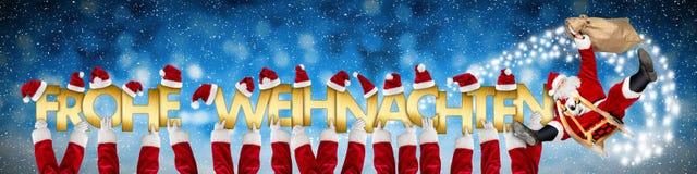 Frohe weihnachten wesoło boże narodzenia szalony śmieszny Santa Claus na sl ilustracji