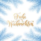 Frohe Weihnachten Wesoło bożych narodzeń kaligrafii Niemiecka wakacyjna złota ręka rysujący tekst dla kartka z pozdrowieniami Boż Obraz Royalty Free