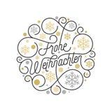 Frohe Weihnachten Wesoło bożych narodzeń kaligrafii Niemiecki literowanie i złoty płatka śniegu wzór na białym tle dla kartka z p Zdjęcie Stock