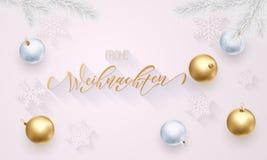 Frohe Weihnachten Wesoło bożych narodzeń Niemiecka złota dekoracja, ręka rysująca złocista kaligrafii chrzcielnica dla kartka z p Zdjęcia Stock