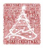Frohe Weihnachten - Wortwolkenillustration stock abbildung