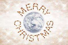 Frohe Weihnachten zur Welt Stockbild