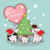 Frohe Weihnachten zur Zahnfamilie Lizenzfreies Stockbild