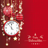 Frohe WeihnachtenKnit Red Background Ornaments Clock 2017 Golden Royalty Free Stock Photo