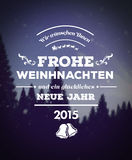 Frohe Weinhachten vector against forest at night Stock Images