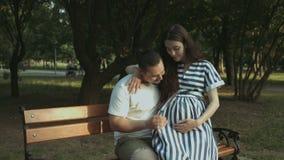 Frohe zukünftige Eltern, die das Baby, entspannend im Park erwarten stock video footage