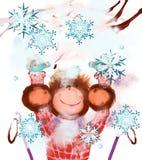 Froher Affe und Schnee Lizenzfreie Stockfotografie