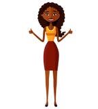 Froher junger Afroamerikanerlehrer, der sich Daumen zeigt Lächelnde Karikatur-Vektorillustration des Frauencharakters flache Lizenzfreie Stockbilder