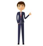 Froher junger Geschäftsmann, der Daumen herauf flache Karikaturillustration zeigt Lizenzfreies Stockfoto
