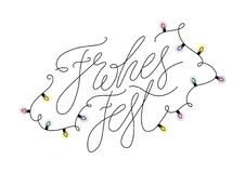 Frohes Fest German language Christmas Congratulation. Vector Handwritten Calligraphy with Xmas lights. Happy Holidays in. Deutschland stock illustration