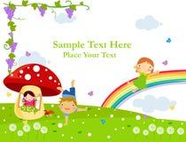 Frohes Kindspielen. Glückliche Kindheit lizenzfreie abbildung