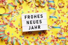 Frohes neues Jahr意味新年快乐用德语 免版税库存图片