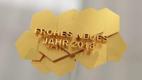Frohes neues jahr, καλή χρονιά στο γερμανικό γλωσσικό τρισδιάστατο illustra Στοκ Φωτογραφία