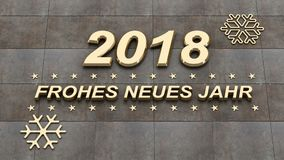 Frohes neues jahr, καλή χρονιά στο γερμανικό γλωσσικό τρισδιάστατο illustra Στοκ Εικόνες