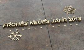Frohes neues jahr, καλή χρονιά στο γερμανικό γλωσσικό τρισδιάστατο illustra Στοκ εικόνα με δικαίωμα ελεύθερης χρήσης
