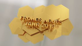 Frohes neues jahr, happy new year in German language 3d illustra Stock Photography