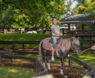 frohes Reiten des kleinen Mädchens auf Ponypferd im Ontario-Mitteinselpark, am sonnigen herrlichen Tag des Sommers Stockbilder