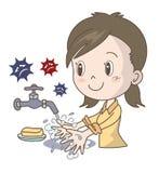 Froids et prévention de grippe - lavage de main - fille illustration stock