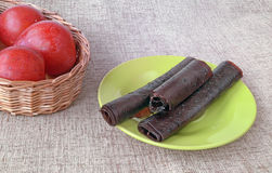 From Plums Pastilles Lie On The Green Plate And Fresh Plums Royalty Free Stock Photo