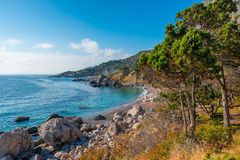 From The Top To The Beautiful Picturesque Bay Of The Black Sea W Royalty Free Stock Photography