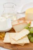 Fromage avec des biscuits, des raisins et le vin blanc Photographie stock libre de droits