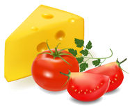 Fromage avec des tomates. illustration stock