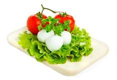 Fromage avec la tomate et la salade Images stock