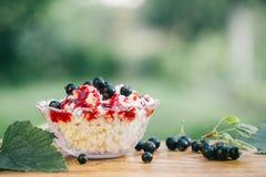Fromage blanc avec de la confiture de baie avec le cassis frais sur un fond en bois clair Concept de photo de nourriture La vie t Images libres de droits