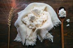 Fromage blanc et céréales domestiques frais image stock