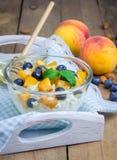 Fromage blanc frais avec la pêche, la myrtille, les amandes et le miel Images stock