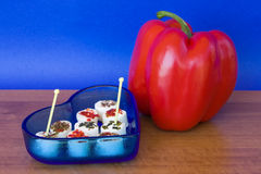 Fromage chevronné et poivron rouge Photo stock