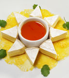 Fromage con la salsa de la naranja de la miel Imagen de archivo