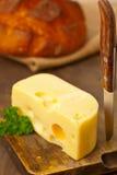 Fromage d'édam avec du pain Photographie stock