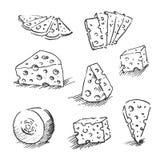 Fromage d'isolement sur un fond blanc, illustration tirée par la main de vecteur d'ensemble de fromage Croquis de fromage, collec illustration stock