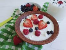 Fromage de laiterie de cottage, yaourt, fraise, traditionnel sain de myrtilles de déjeuner de matin mangeant un fond en bois blan images stock