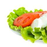 Fromage de Mozarell avec la tomate et la salade Images stock