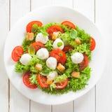 Fromage de mozzarella et salade italiens de tomate photographie stock