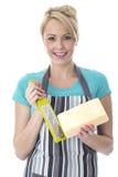 Fromage discordant de jeune femme attirante photos stock