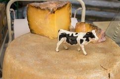 Fromage du Cantal à vendre au marché local de la région de la Provence image libre de droits