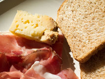 Fromage et jambon Photographie stock