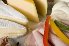 Fromage et salami Image stock