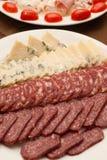 Fromage et salamy italiens Photo libre de droits